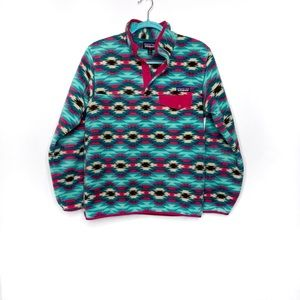 Patagonia Synchilla Wild Desert Pink Teal Size Small Fleece Outerwear